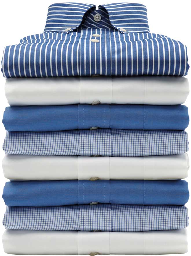 stack of clean folded shirts